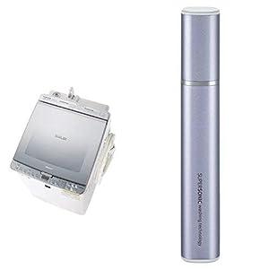 シャープ SHARP タテ型洗濯乾燥機 ガラストップ ダイヤカット穴なし槽 シルバー系 ES-PX8C-S 超音波ウォッシャー バイオレット系 セット