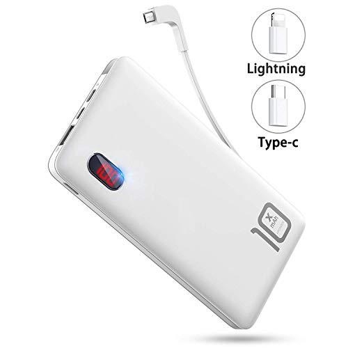 モバイルバッテリー 軽量 ケーブル内蔵 10000mAh 大容量 LEDスクリーン ライトニング/microUSB/Type-Cコネクタ付 2USBポート スマホ 充電器 コンパクト 持ち運び便利 iphone/ipad/Android対応 (ブラック) (ホワイト)