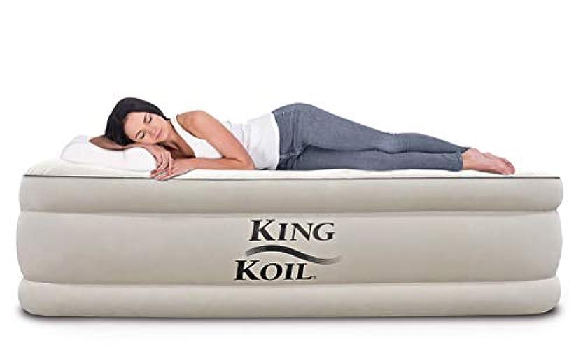 息子冷える進捗King Koil Queen Size Luxury Raised Air Mattress - Best Inflatable Airbed with Built-in Pump - Elevated Raised Air Mattress Quilt Top & 1-Year Guarantee 141[並行輸入]