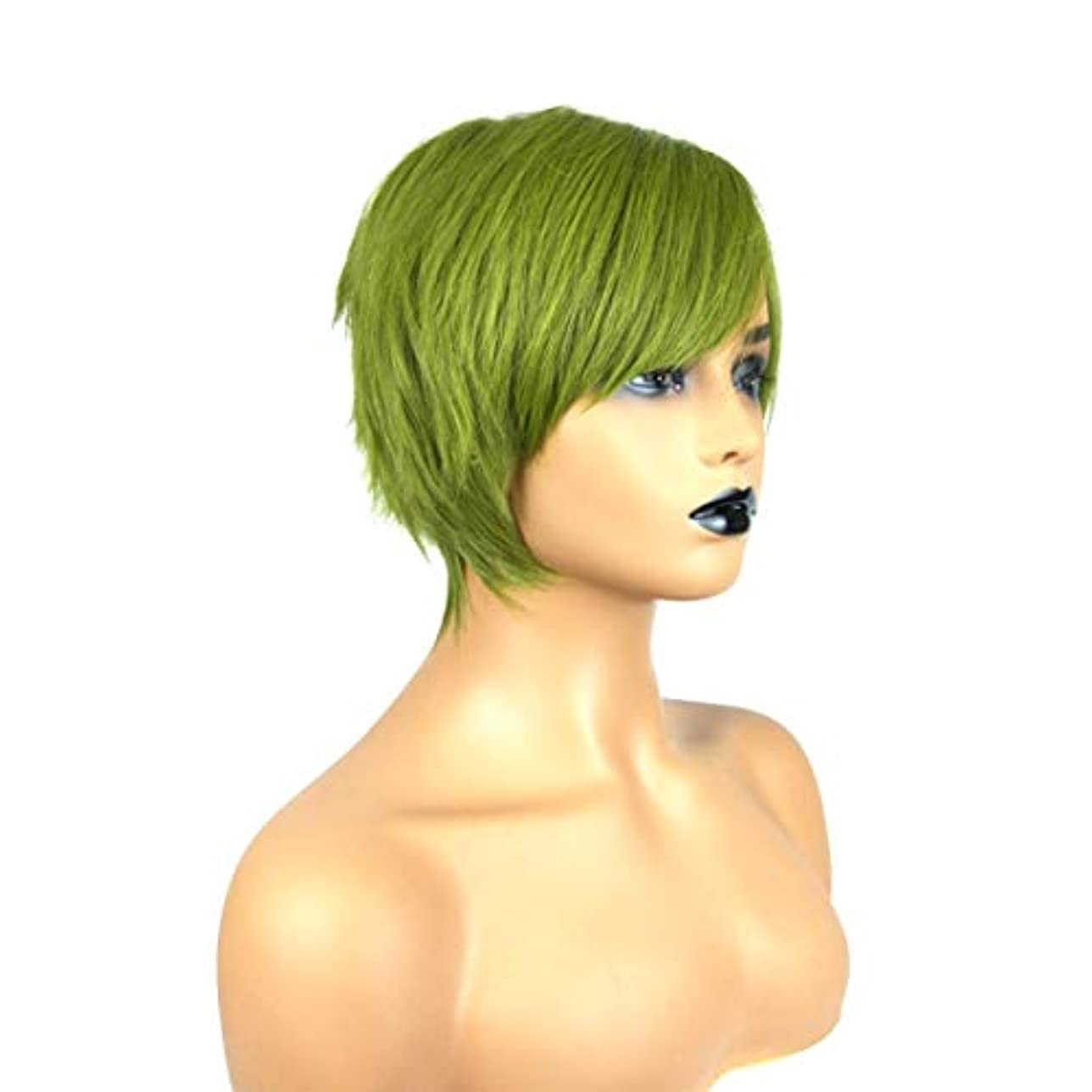 過言いたずら項目Kerwinner フラットグリーン前髪ストレートグリーンショートストレートヘアショートボブヘアかつら