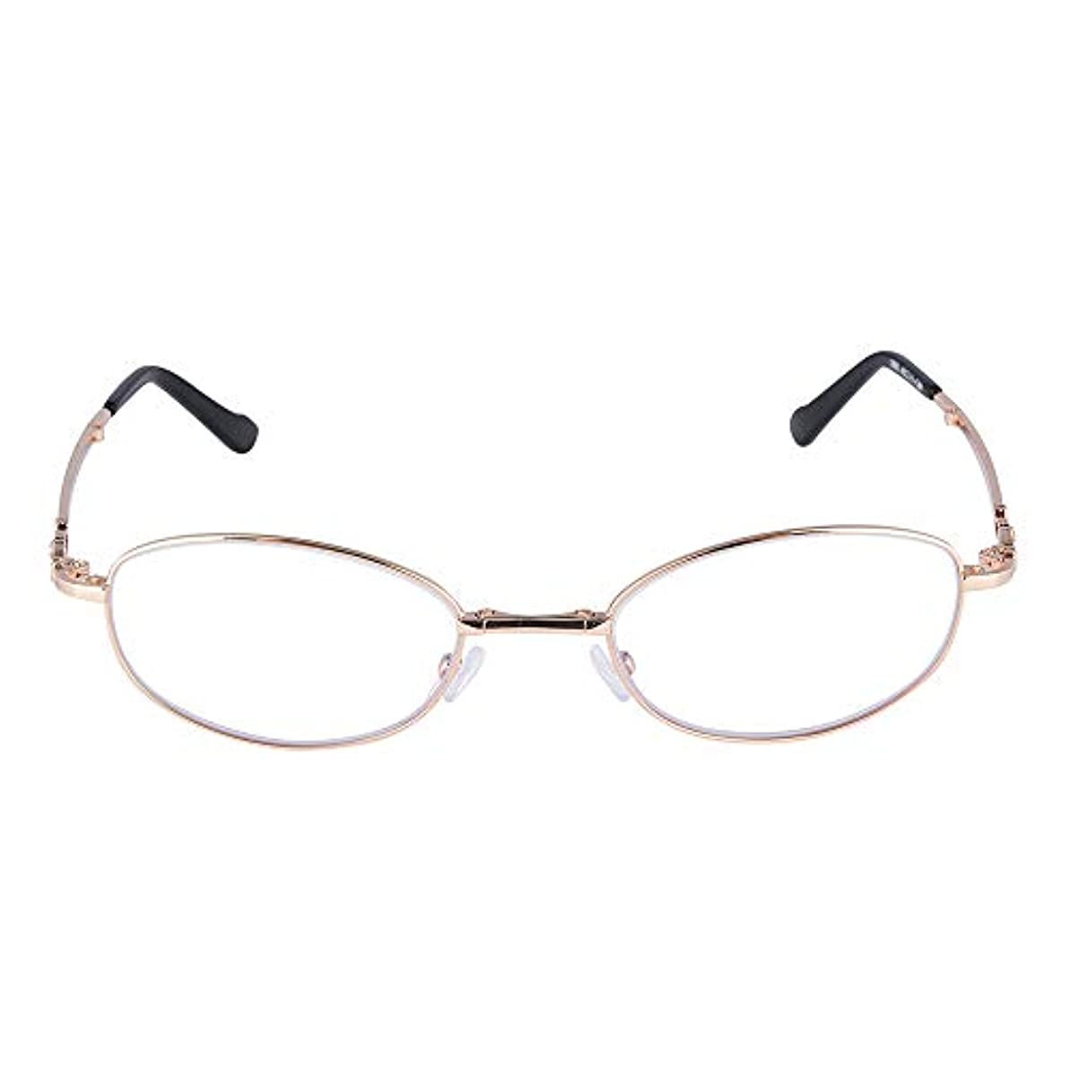 折り畳み式老眼鏡|アンチブルーレイレディース老眼鏡|抗放射線抗疲労メガネ|ファッションテンプル、シリコン鼻パッド|快適な目の保護