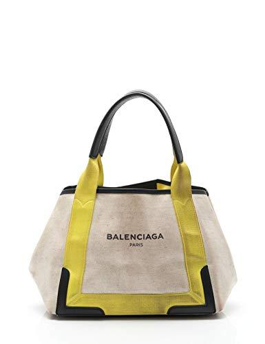 (バレンシアガ) BALENCIAGA ネイビーカバ S トートバッグ キャンバス レザー ベージュ 黄 339933 中古