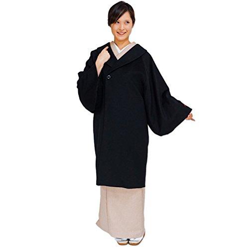 極上の暖かさ PURE CASHMERE 100% COAT 和装コート カシミヤ ブラック Lサイズ ピュア カシミヤ 100% コート 着丈 98cm ロング コート 着物 和装
