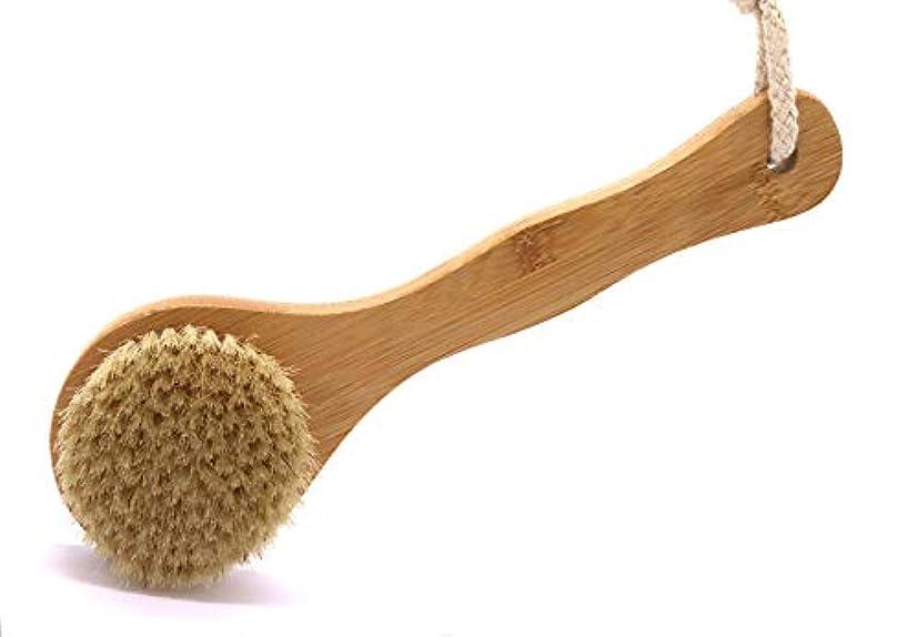 拡声器ローラーリークMaltose ボディブラシ 木製 豚毛 天然素材 柄付き 足を洗う 背中ブラシ 体洗いブラシ 角質除去 全身マッサージ(ボディブラシ 柄付き)
