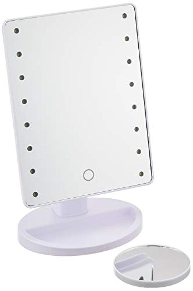 対話踏みつけ抜け目がないHAC ハック 16LED拡大鏡付きメイクアップミラー