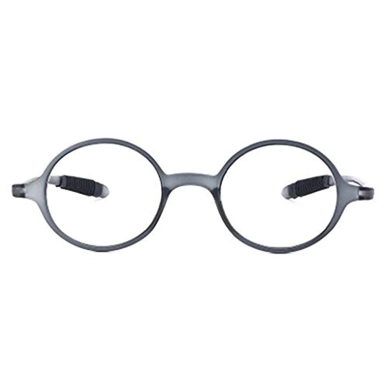 レトロな老眼鏡,抗疲労 ラウンド フレーム読者 超軽量 超弾性 樹脂レンズ-グレー +2.0
