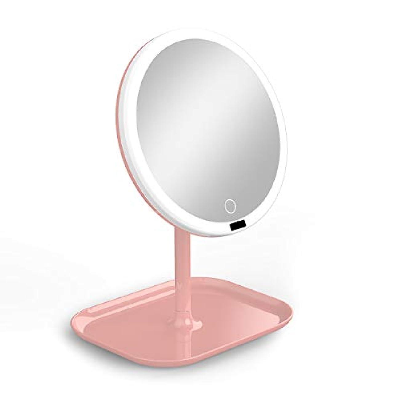 ロールナラーバー慎重La Farah 化粧鏡 化粧ミラー LEDライト付き 卓上鏡 女優ミラー 3段階明るさ調節可能 180度回転 コードレス 充電式 円型