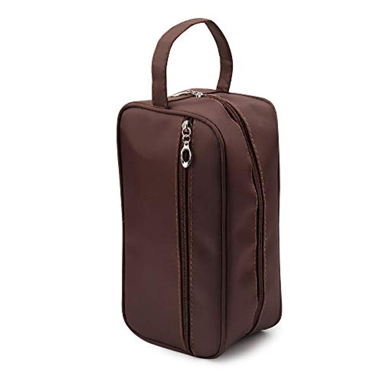 三角雑種タンク新しい女性と男性大防水化粧バッグナイロン旅行化粧品バッグオーガナイザーケース必要なメイクアップ洗面化粧品バッグ (Color : Brown)