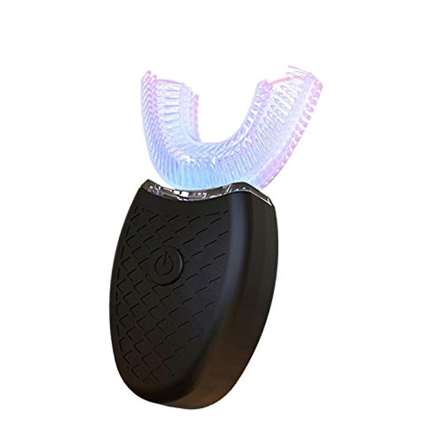 ポンプぬるいパッチACAMPTAR 360度U型自動電動歯ブラシ、高周波超音波振動ブルーライト-歯のホワイトニング用シリコーンのブラシヘッド、黒色