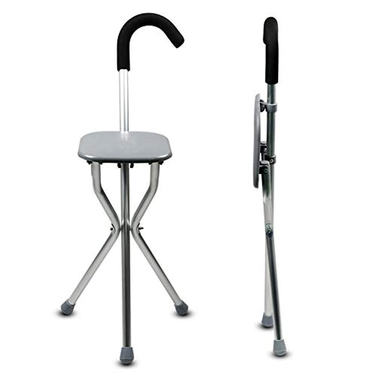 オーナメント教義提供された杖杖杖高齢者大人の杖スツール折りたたみ座席折りたたみ式の折りたたみ式の滑り止めの三角形の4つの足に座ることができます