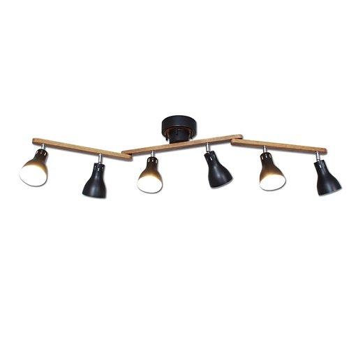 6灯シーリングライト ブルックリン ブラック リモコン付き アーム可動式 北欧風照明器具 天井照明