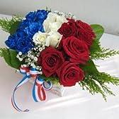 国旗のバスケットアレンジメント フランス スモール【生花】【お祝い】【記念日】【誕生日】【フラワーギフト】【バラ】