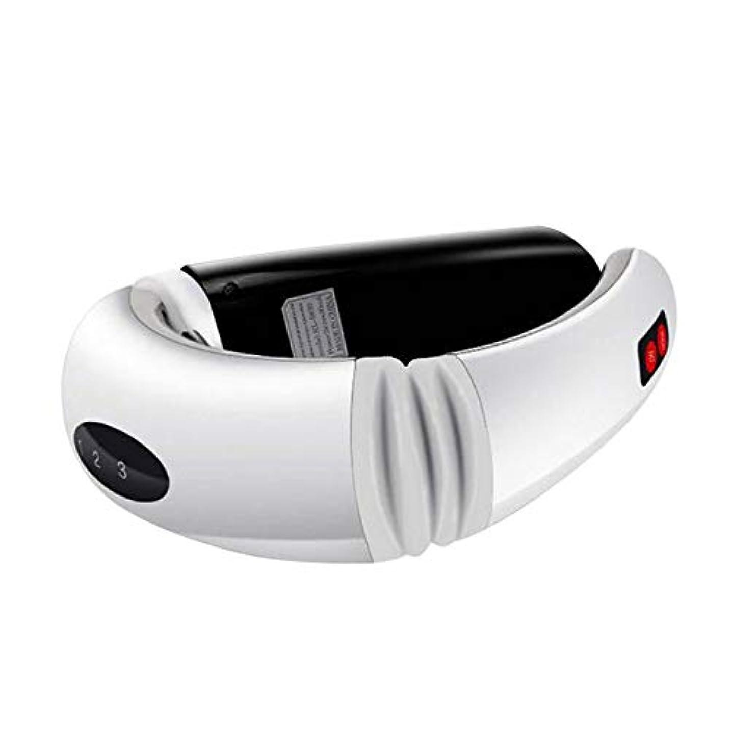 寮油従う首のマッサージャー電気USB再充電可能な子宮頸マッサージャーは、痛みの痛みの筋肉を取り除く車のオフィスとホームホワイト