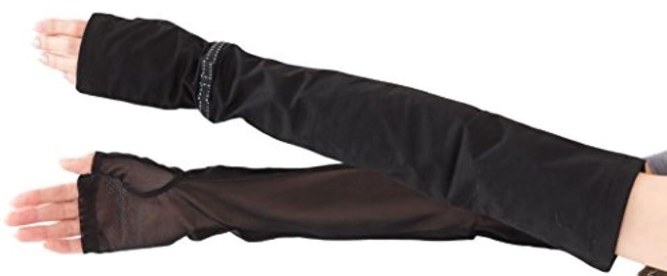 プールビル道を作るエル (ELLE) 接触冷感 スマホ対応 指なし ロング タイプ UV 手袋 メッシュ リボン 滑り止め ケース付 (ブラック)