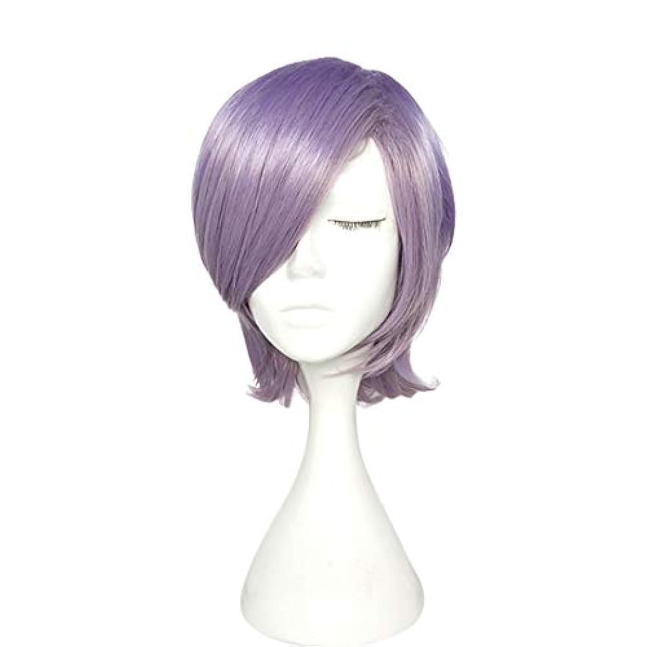 ほのかオーバードロー吸収剤YOUQIU パープルウィッグ高温シルクショートカーリーヘアマイクロロール梨ヘッドウィッグ帽子ウィッグ (色 : 紫の)