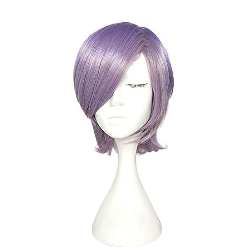 最愛のダイアクリティカル気楽なYOUQIU パープルウィッグ高温シルクショートカーリーヘアマイクロロール梨ヘッドウィッグ帽子ウィッグ (色 : 紫の)