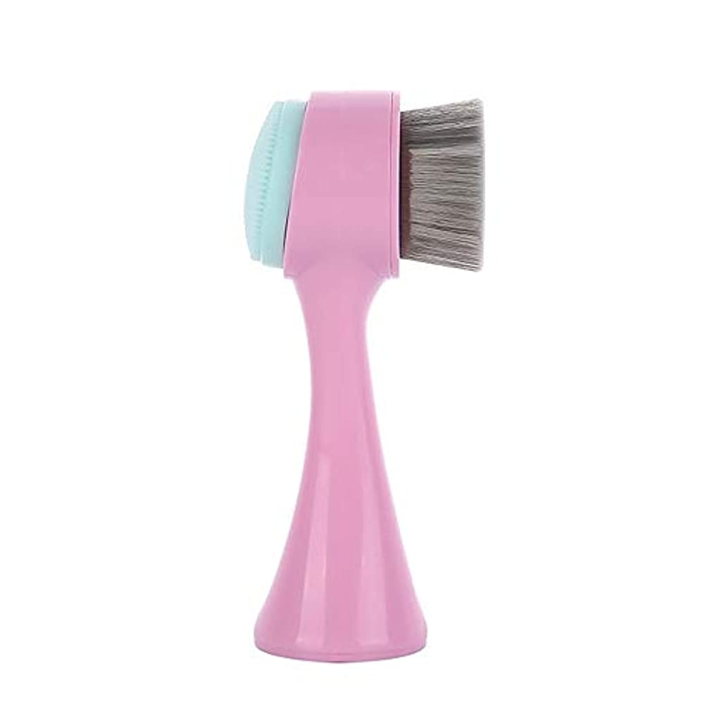 反応するスラッシュアマゾンジャングルLYX 新しい立ちマニュアルクレンジング器、竹炭クリーニングブラシ、ブラックヘッドクレンジングブラシ、クレンジングブラシ洗浄ツール (Color : ピンク)