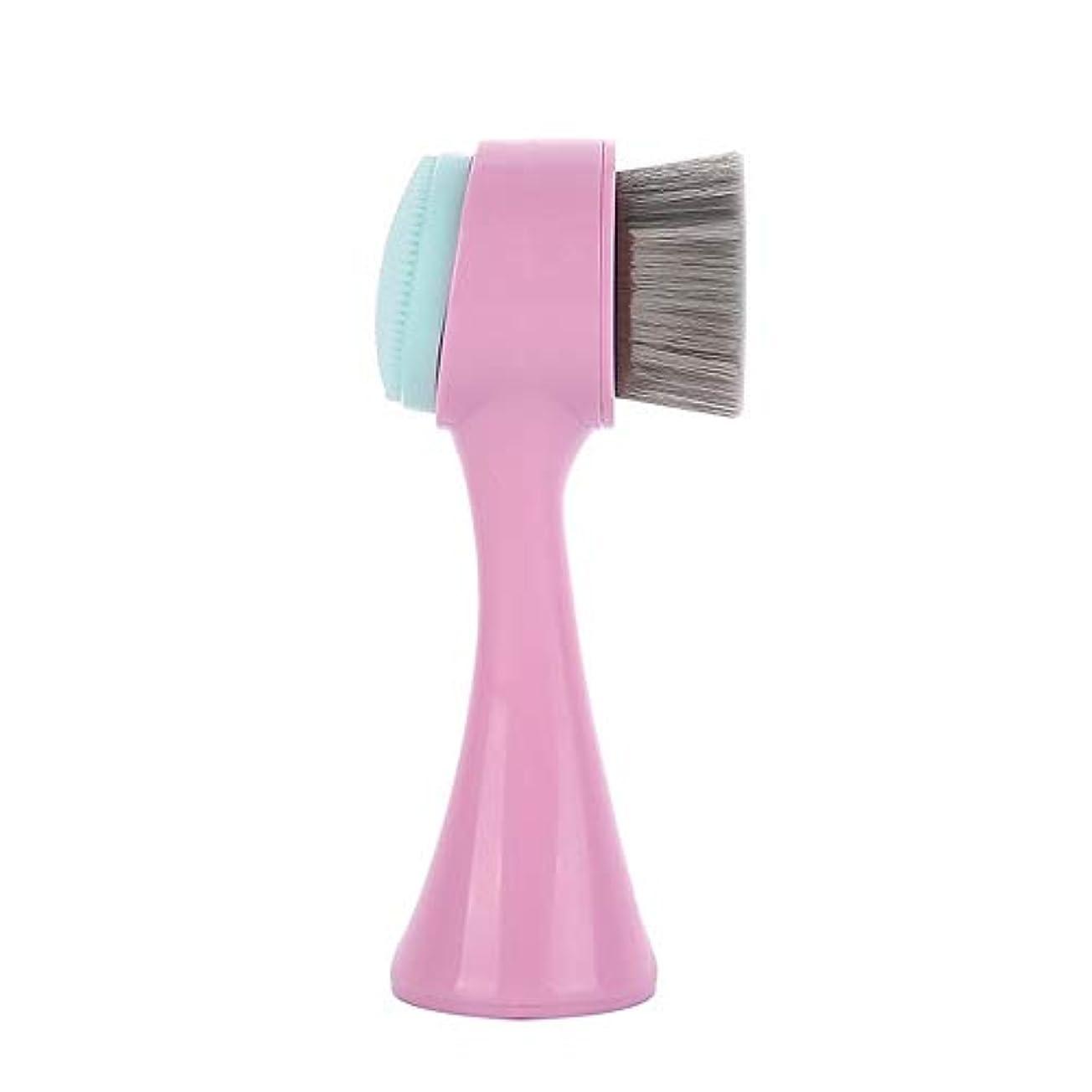 部対処する弁護LYX 新しい立ちマニュアルクレンジング器、竹炭クリーニングブラシ、ブラックヘッドクレンジングブラシ、クレンジングブラシ洗浄ツール (Color : ピンク)