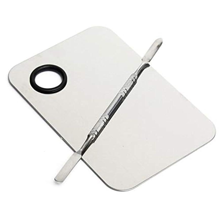 ステンレス鋼化粧品化粧パレットプレート調整リキッドファンデーションミキシングメイクアップツール(色:シルバー)