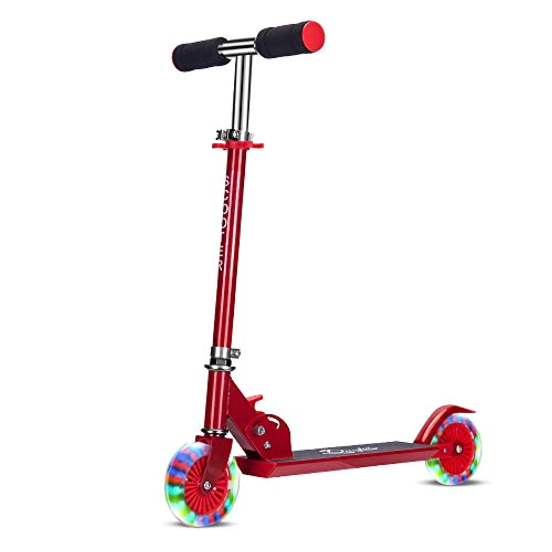 新しい子供のスクーター折りたたみスクーターPUフラッシュホイール子供のベビーカー ( Color : Red )