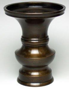 京仏壇はやし 仏具 花立 色付 3.5寸 真鍮製 ※各ご宗派でお使いいただけます