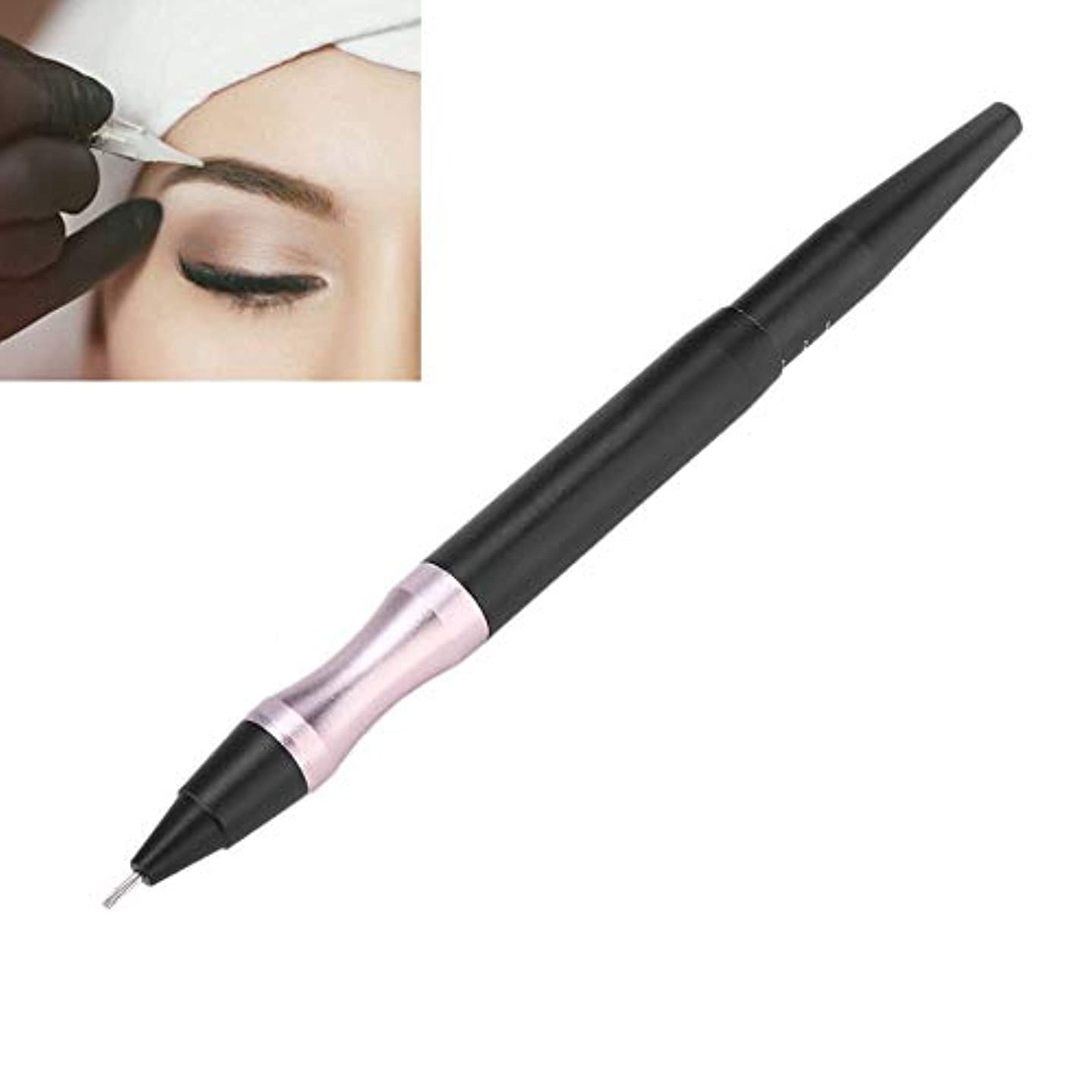しないでください羨望固執手動タトゥーペン、眉アイライナーの唇のための半永久的な化粧道具、滑り止めハンドル付き多目的マイクロブレードペン、マルチタイプの針に適しており、交換が容易(ブラック)