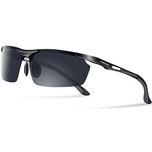 PAERDE 偏光レンズ スポーツサングラス メンズ 超軽量 UV400 紫外線カット 自転車/釣り/スポーツ/テニス...