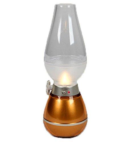 調光式 USB接続 充電式 LED キャンドルライト ランタン デザイン バッテリー内蔵  キャンプライト / アウトドア / クリスマス / 非常灯 / 常夜灯 として使える(ミニUSB充電) オイルランプ形 ファッションランプ 息を吹き込むだけで 点灯・消灯 できる (オレンジ)