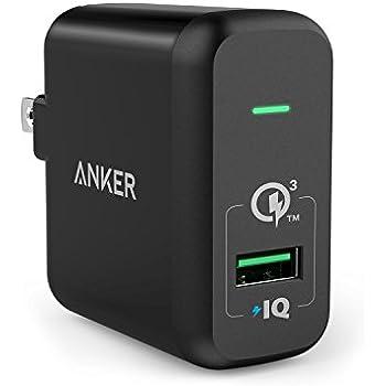 【Quick Charge 3.0対応】 Anker PowerPort+ 1 (Quick Charge 3.0 18W USB急速充電器) Galaxy S6 / Edge / Plus、 Note 5 / 4、LG G4、Nexus 6、iPhone、iPad 他対応 (ブラック)