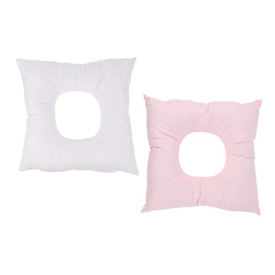 松の木誘惑する姉妹Baoblaze 2個 マッサージ枕 顔マクラ クッション 顔枕 首枕 フェイスパッド うつ伏せ ピンク+ホワイト
