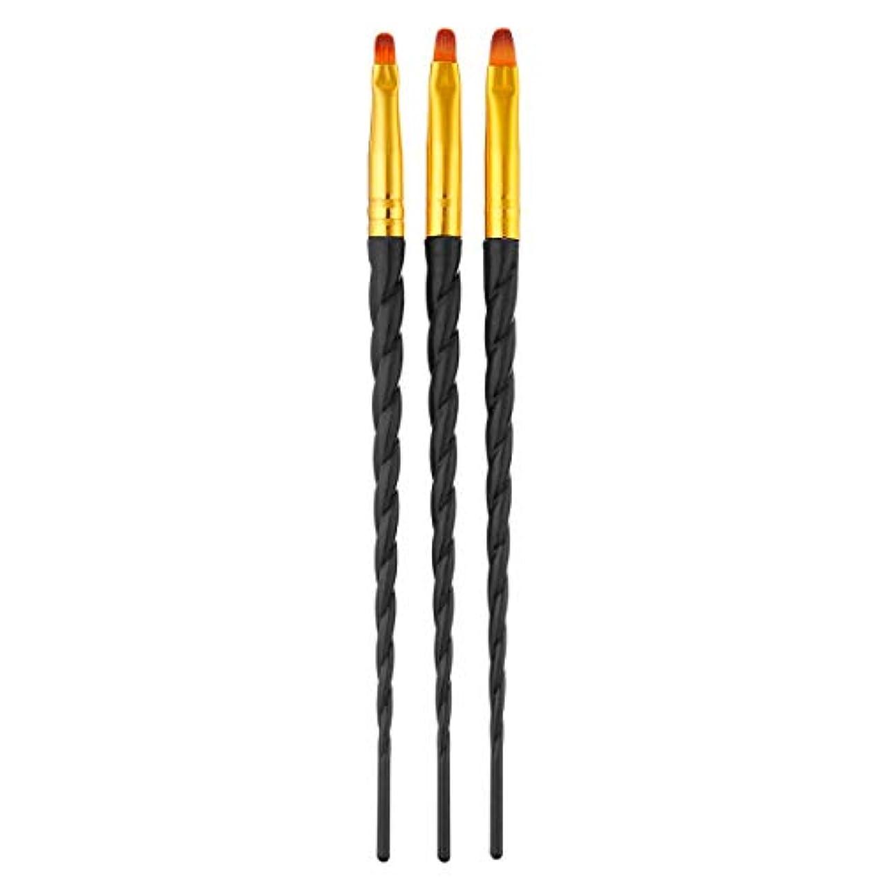 レモン忍耐アーティストTOOGOO 3ピース/セット、ネイルアート、スレッド、アクリルuvジェルの延長ビルダー、絵画ブラシのパターンのデザイン、描画用ペン、マニキュアツール、ブラック