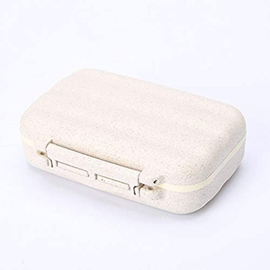 守る飛ぶ急ぐWXYXG 旅行緊急医療キットポータブル小さなピルボックス7日大容量ピルボックス付きミニ (Color : White, Size : 11cm×8cm×3.5cm)