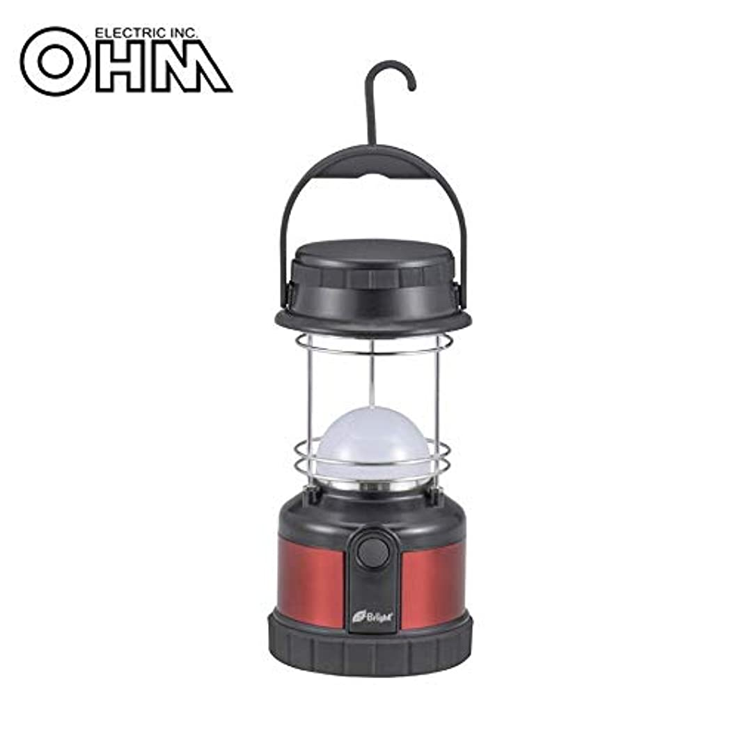 パール間欠慣性オーム電機 OHM LED ドーム光源ランタン LED8個 320ルーメン 黒+シャインレッド LNP-30N-K