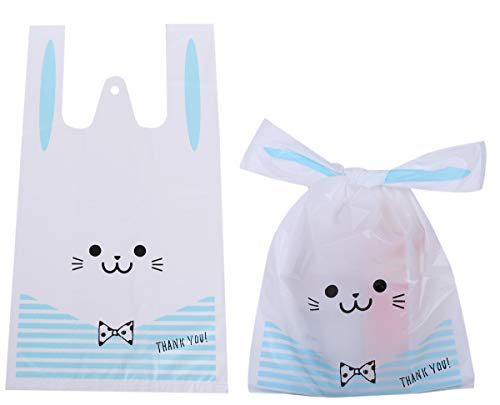 うさみみ袋 100枚 レジ袋 かわいい ビニール袋 ポリ袋 プレゼント用 お菓子 ラッピング袋 LOTUS LIFE (水色)
