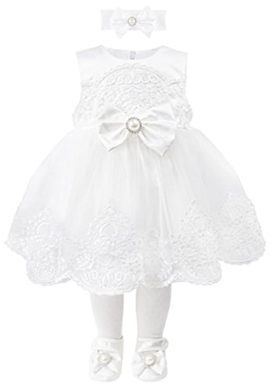 フルートワンダー登録t.f.タフィータフィーBaby Girl洗礼式洗礼刺繍ホワイトドレスガウン6 Pieceデラックスセット
