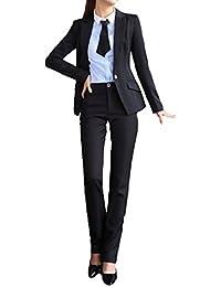 (119ホンポ)レディ-ス ファッション ビジネス パンツ スーツ スカート スーツ セット アップ ジャケット 事務服 通勤 結婚式 入学式 卒業式 (黒 灰 薄灰 ワイン 白 黄 薄茶 水色 M~2XL)
