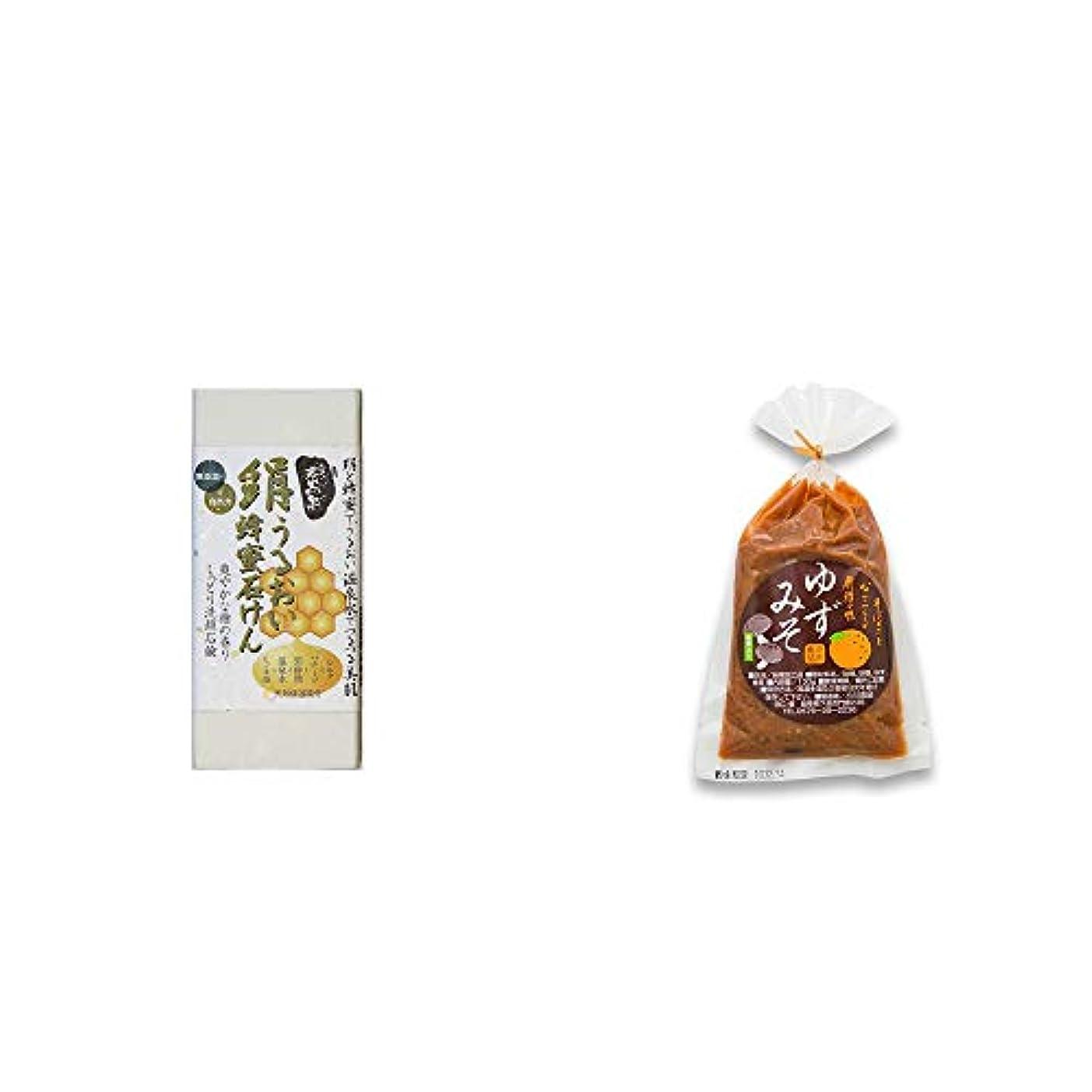 授業料階段平野[2点セット] ひのき炭黒泉 絹うるおい蜂蜜石けん(75g×2)?ゆずみそ(130g)