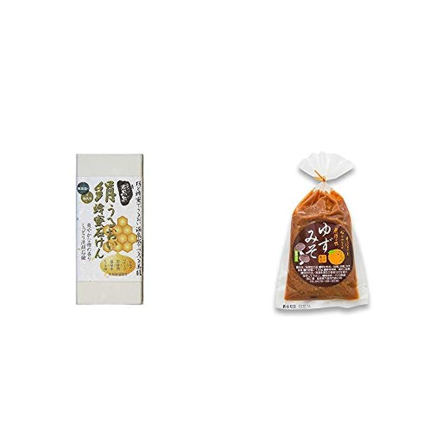民間辛い永久[2点セット] ひのき炭黒泉 絹うるおい蜂蜜石けん(75g×2)?ゆずみそ(130g)