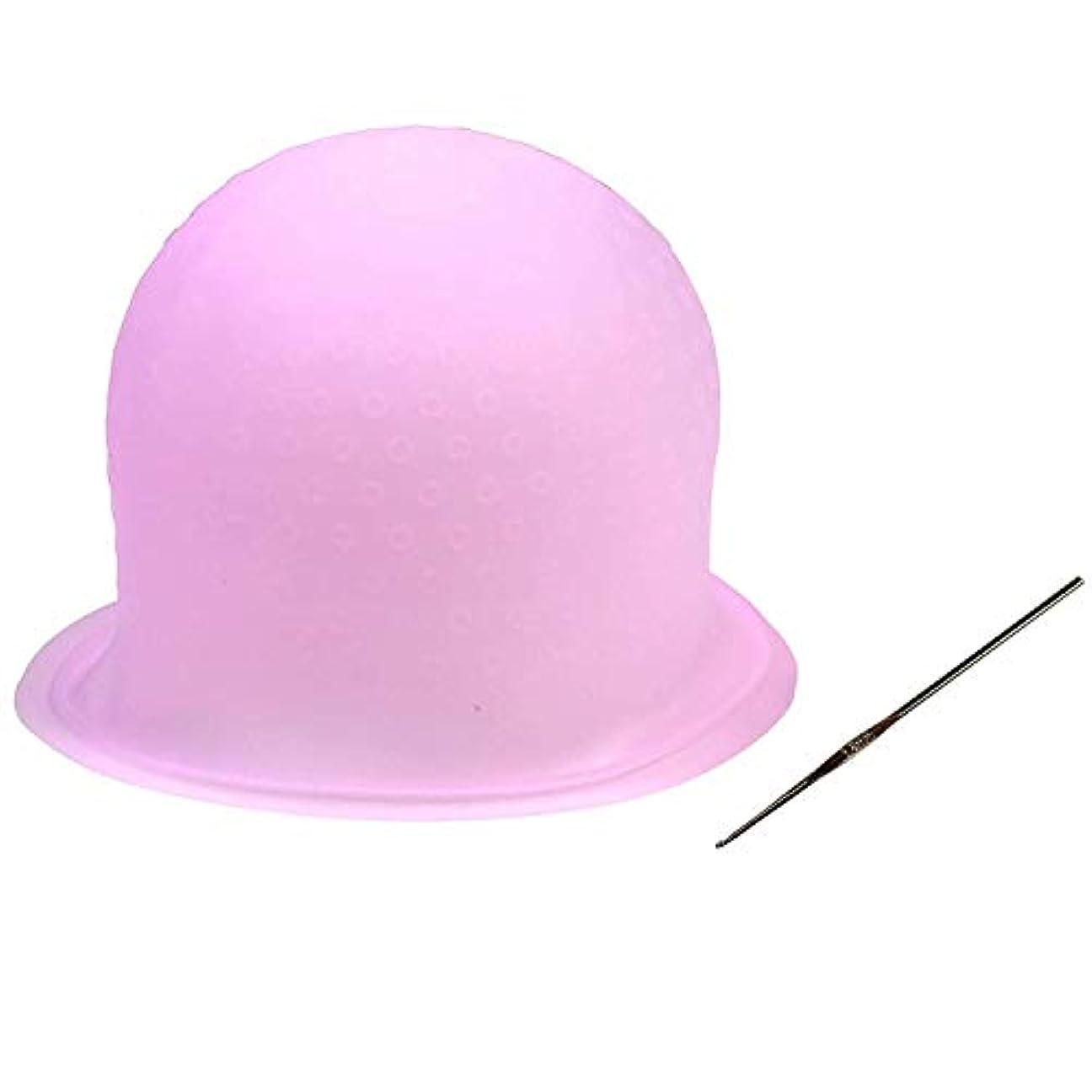 マーキング規模床毛染めキャップ 洗って使える ヘアカラー メッシュ シリコン ヘア キャップ(かぎ針付き) 再利用可能 染め専用 ボンネット 部分染め 自宅 DIY (ピンク)
