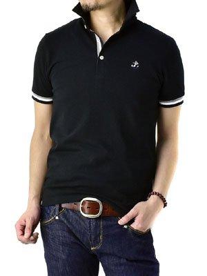 (フラグオンクルー) FLAG ON CREW メンズ 衿裏 カラー配色 ワンポイント 刺繍 ポロシャツ / A5Q / 3L ブラック・Bタイプ