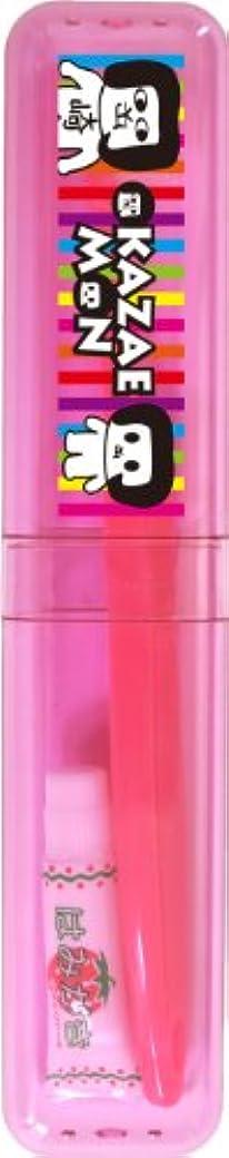 反応する知人紫のOKA-06-219 オカザえもん こどものケース付ハブラシ (ピンクストライプ)