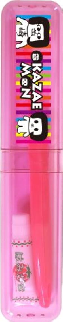 OKA-06-219 オカザえもん こどものケース付ハブラシ (ピンクストライプ)