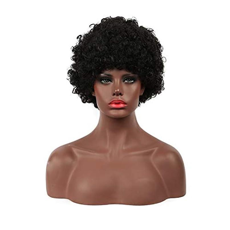 早く海インフレーションKoloeplf 女性用ショートカーリーボブウィッグふわふわウェーブのかかった黒人工毛ウィッグナチュラルルウィッグ耐熱ウィッグウィッグキャップ付き (Color : Black)
