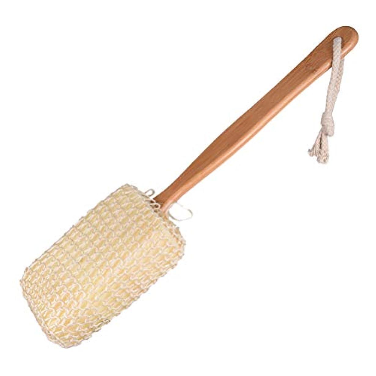 郵便屋さん合法ロープYardwe ドライブラッシングボディーブラシナチュラルサイザルスポンジ取り外し可能な長い木製の竹のハンドル死んだ皮膚はセルライトの剥離を助けます