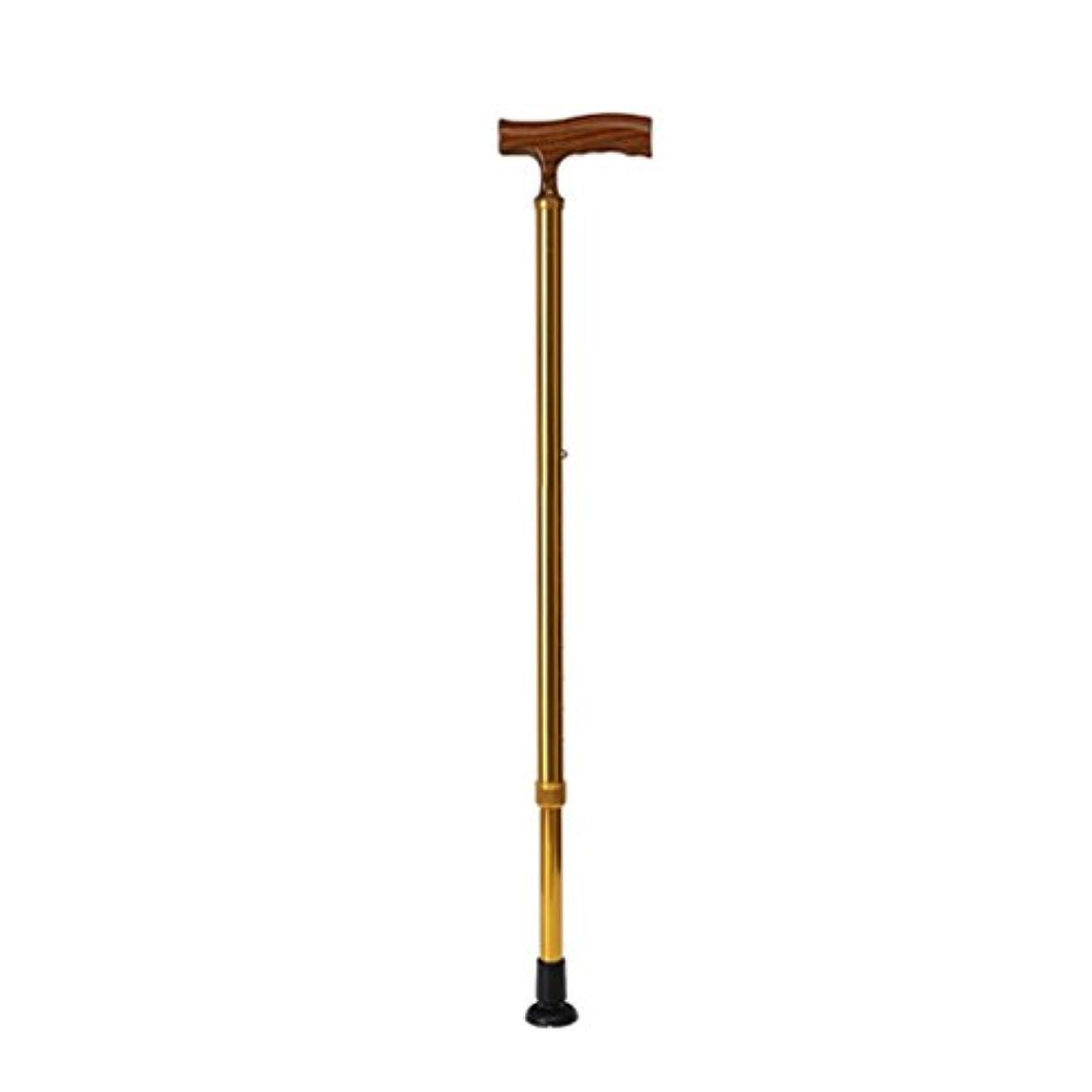 僕のワンダー桃HAIYING ウォーキングスティックアルミ杖高齢者引き込み可能なノンスリップ調節可能な高さウォーキングスティック成形プラスチックハンドル74-97CM高齢者のためのギフト (色 : ゴールド)