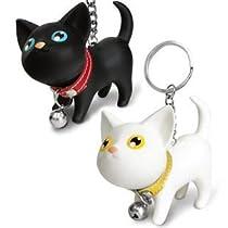 癒し系ねこ型キーホルダー白猫・黒猫2個セット★首輪&鈴付き/キーリング/Cat Key case/子猫2匹
