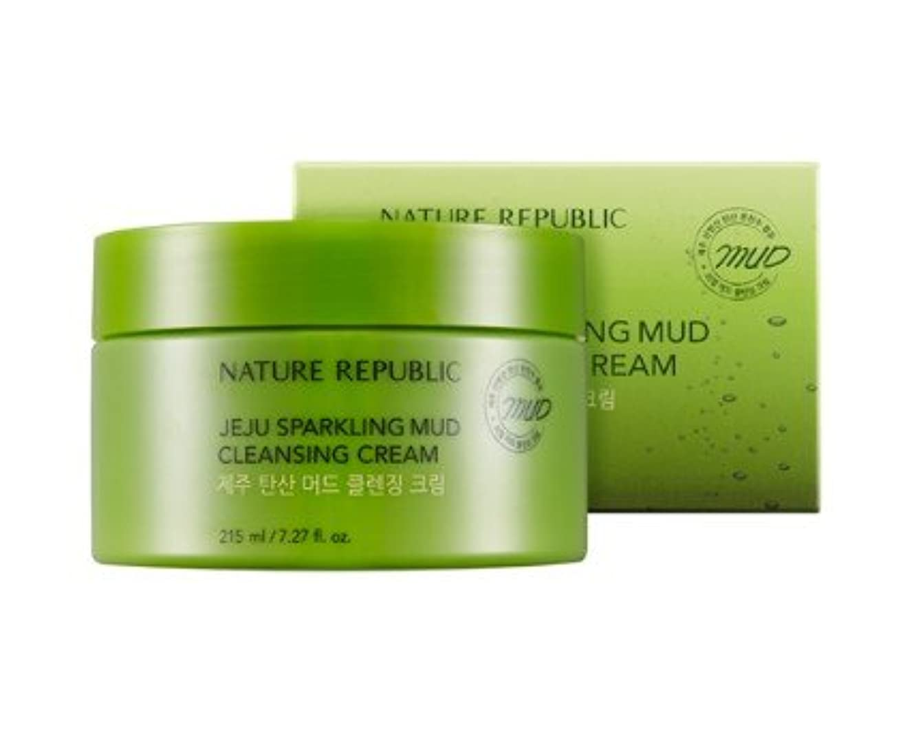 Nature republic Jeju Sparkling Mud Cleansing Cream ネイチャーリパブリック チェジュ炭酸マッド クレンジングクリーム 215ML [並行輸入品]