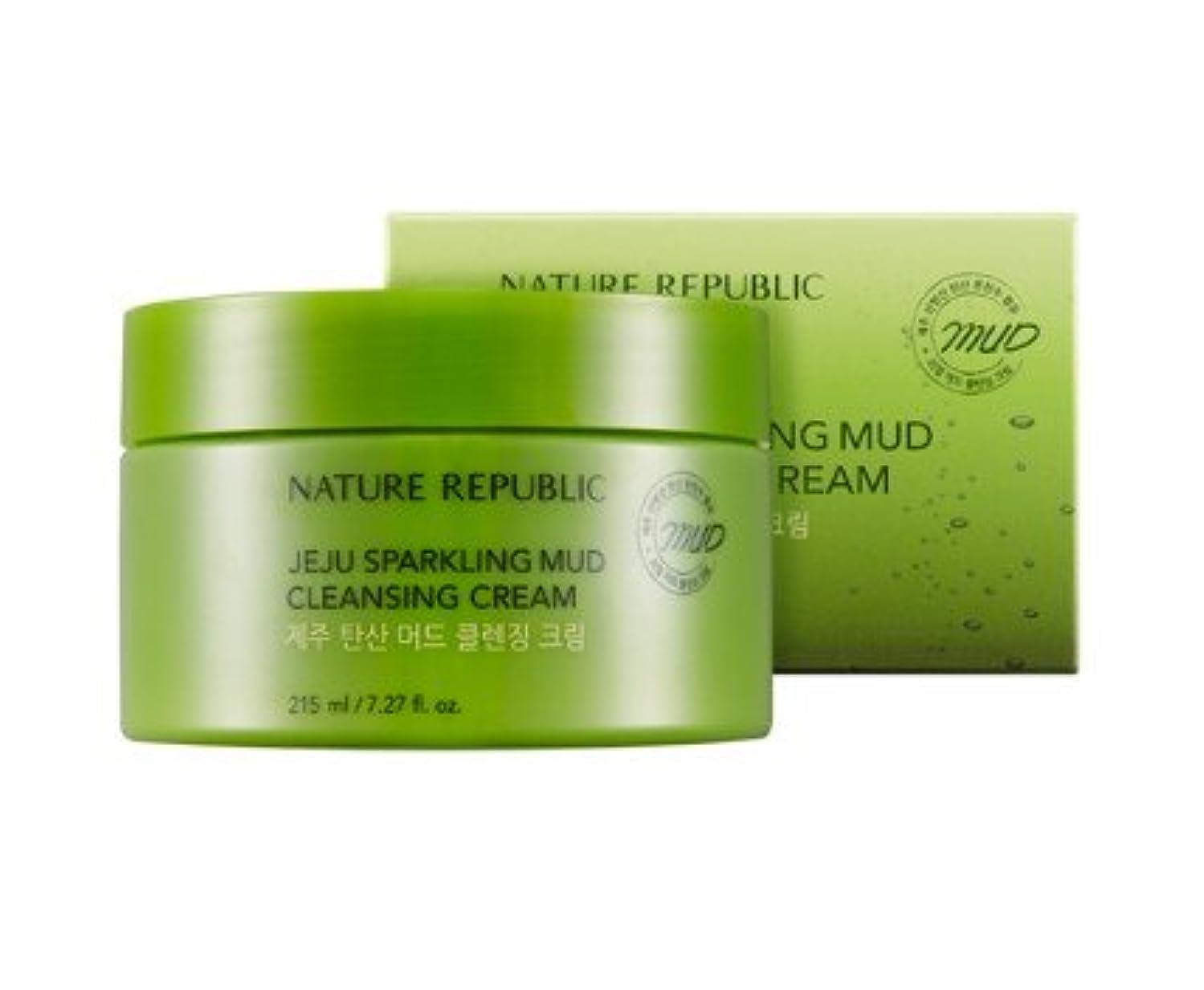 濃度膨張する濃度Nature republic Jeju Sparkling Mud Cleansing Cream ネイチャーリパブリック チェジュ炭酸マッド クレンジングクリーム 215ML [並行輸入品]