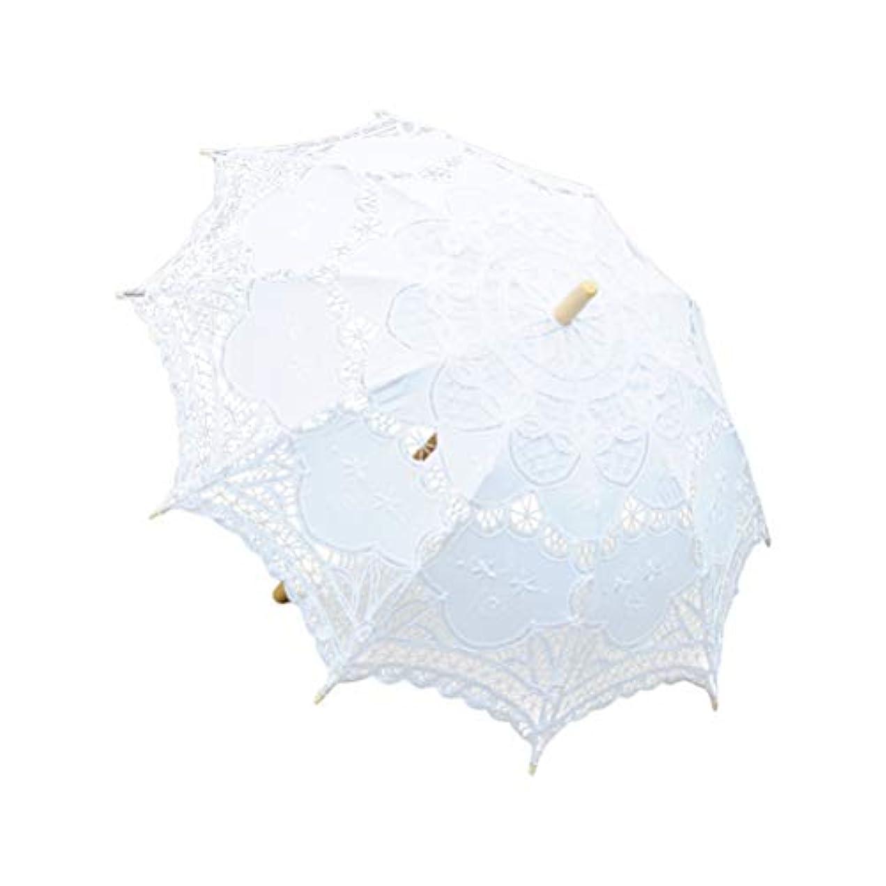 適切な傾向があります見分けるBESTOYARD ホワイトレース刺繍日傘手作り傘fotブライダルシャワーレディーコスチュームアクセサリーフォトプロップスウェディングダンス(ホワイト)