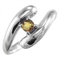 [スカイベル] シトリン(黄水晶) k10ホワイトゴールド 指輪 金運 象徴 ヘビ 1粒 石 メンズ リングサイズ 16号